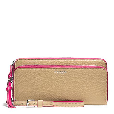 Coach Accordion Zip Wallet F13677 bleecker edgepaint leather zip accordion wallet f51704 silver camel pink ruby coach