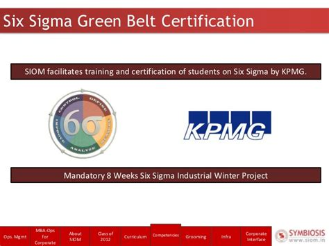 Mba Six Sigma Ppt by Siom Corporate Presentation 2011