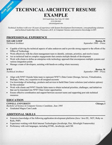 technical architect resume sle architectural resume exles exles of resumes