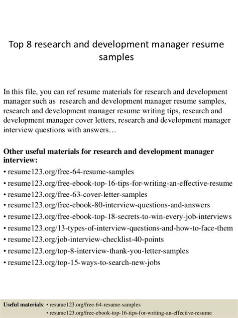 Resume Sle Research And Development Top 8 Research And Development Manager Resume Sles