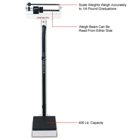 floor scale 10 1 2 w x 14 d inch 450kl scales scales physician detecto 439 eye level beam physician scale 400lb x 4oz w