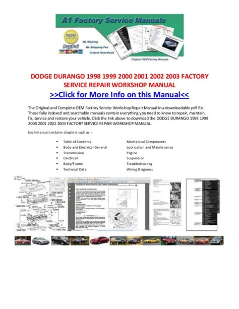 2001 dodge durango original service manual download manuals dodge durango 1998 1999 2000 2001 2002 2003 factory service repair wo