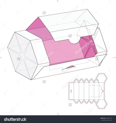 hexagonal dispenser box with die cut template stock vector