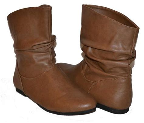 womens light brown slouch ankle boots booties pull on