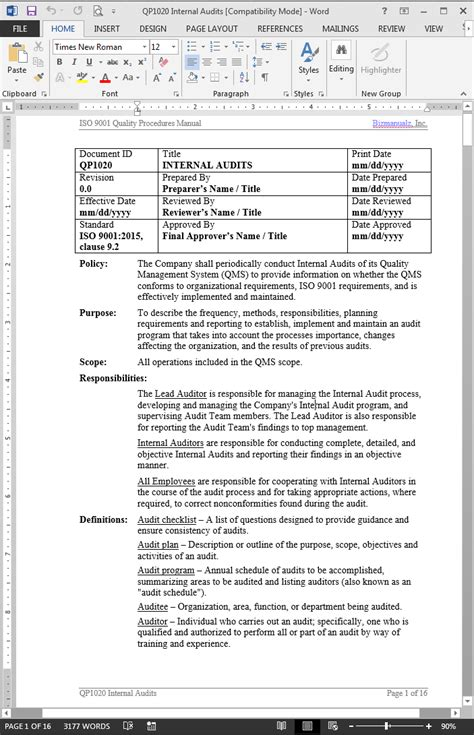 audit procedure template 30 suggested audit template with professional