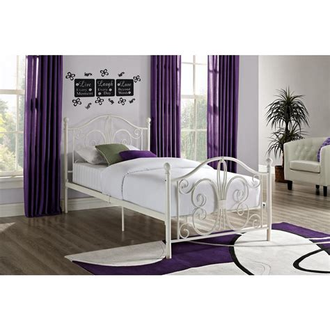 twin white bed frame dhp bombay white twin bed frame 3246098 the home depot