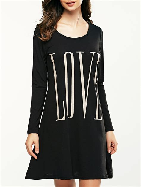 Letter Sleeve Dress letter print sleeve casual dress in black xl