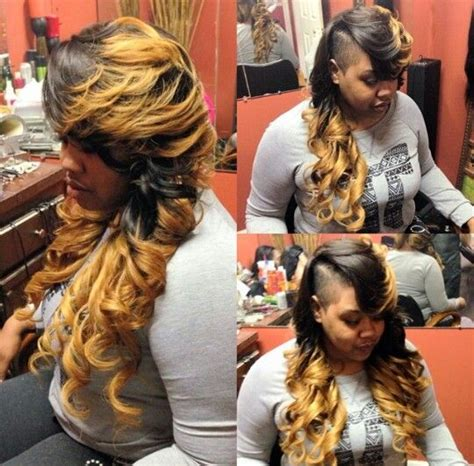 shaved side part quick weave shaved side ombre weave hairstyle urban hairstyles