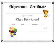 clean desk award printable clean desk award certificate children s awards