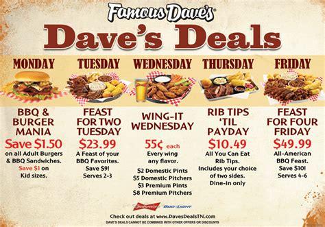 Famous Dave's | Best Nashville Barbecue Restaurant Menu Famous Dave's Menu
