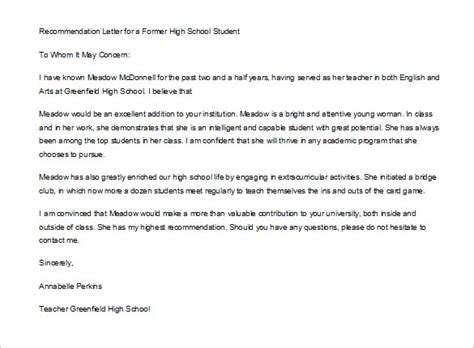 letter recommendation student templates
