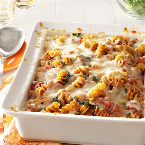pasta bake recipes sausage spinach pasta bake recipe taste of home
