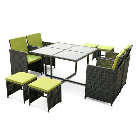 Dining Table With Sofa Chairs Green Ikayaa 9pcs 8 Seater Rattan Patio Garden Outdoor Dining Table Chair Sofa Set Lovdock