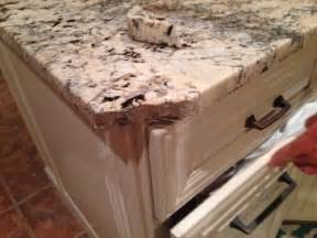 sick to my stomach corner of granite countertop broken