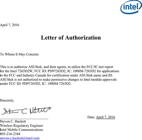 authorization letter how to make 7265d2 wireless network adapter cover letter test report