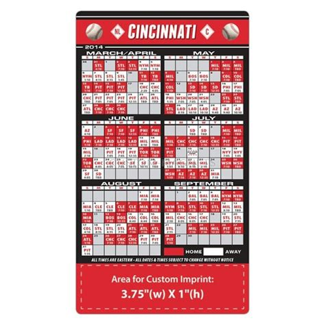 cincinnati reds baseball team schedule magnets 4 quot x 7