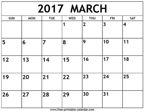 march calendar template march 2017 calendar printable holidays template pdf