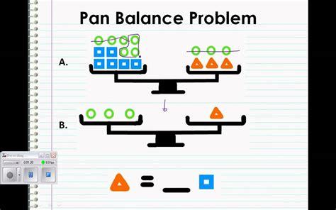 Pan Balance Worksheets by Pan Balance Problem