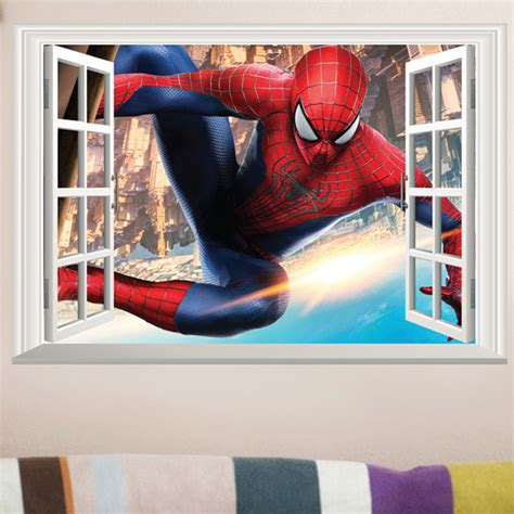 spiderman home decor spider man 3d window view large wall sticker vinyl decals