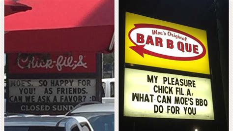 Does Chick Fil A Have Gift Cards - moe s bar b que and chick fil a in mobile are having the funniest sign feud southern