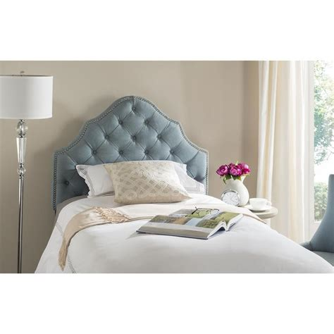 safavieh arebelle sky blue tufted headboard