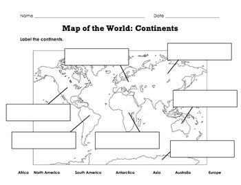 label map   world continents oceans mountain