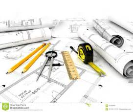 Home Based Design Engineer construction plan with scale and pencil royalty free stock