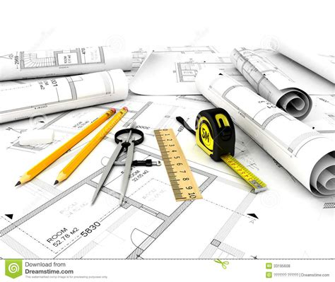 Design Office Floor Plan by Construction Plan With Scale And Pencil Royalty Free Stock
