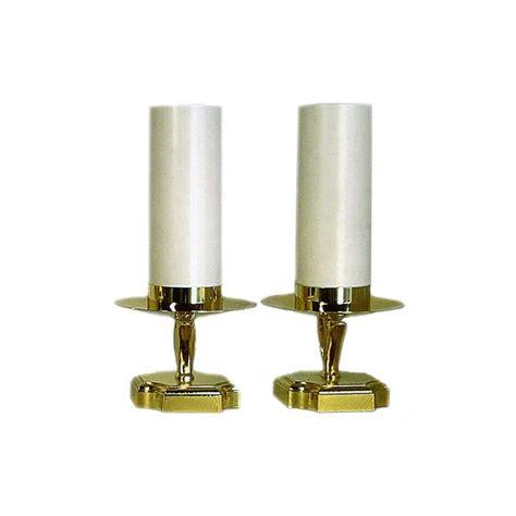 finte candele coppia di candelieri dorati con finta candela per altare