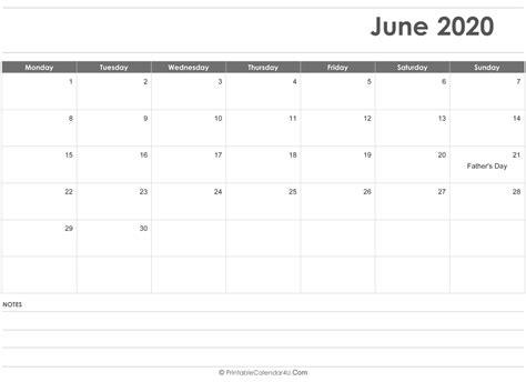 june  calendar templates