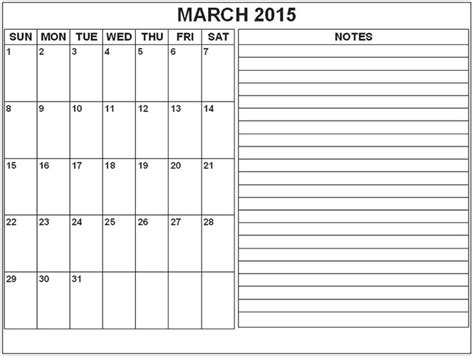 australian calendar template 2015 march 2015 calendar with notes march 2015