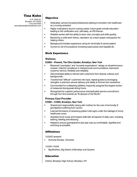 resume exles for nursing assistant cna resume objective lifiermountain org