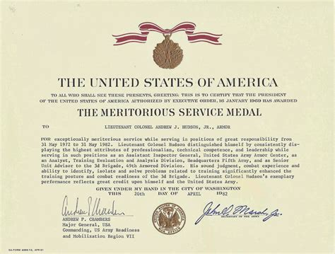 meritorious service medal citation template army achievement medal exle downloads mobiles