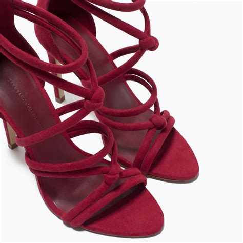 burgundy sandals zara knotted high heel sandals in purple burgundy lyst