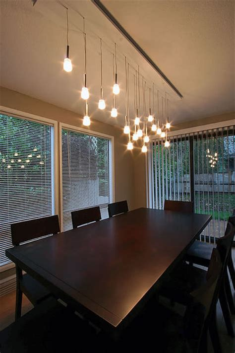 Mini Pendant Chandelier Made From Ikea Ls Lighting Dining Room Table