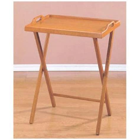 Folding Tv Tray Table Essential Home Oak Finish Folding Tv Tray Table
