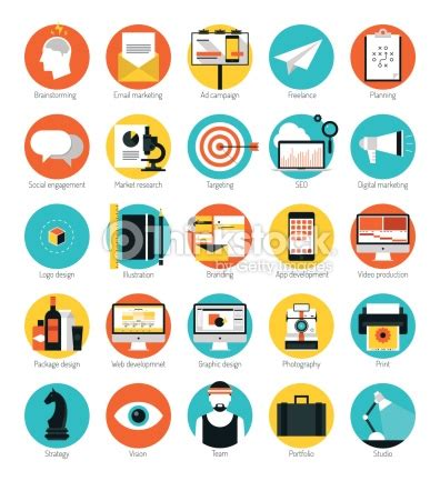 design analysis icon design services icon set marketing and design services flat icons set vector art