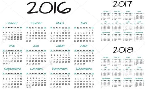 Calendario De 2017 E 2018 Franc 234 S 2016 2017 E 2018 Ano Vector Calend 225 Vetores