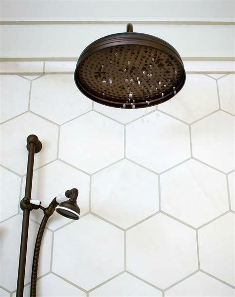 honeycomb tile bathroom honeycomb tile rubbed bronze rainfall shower head