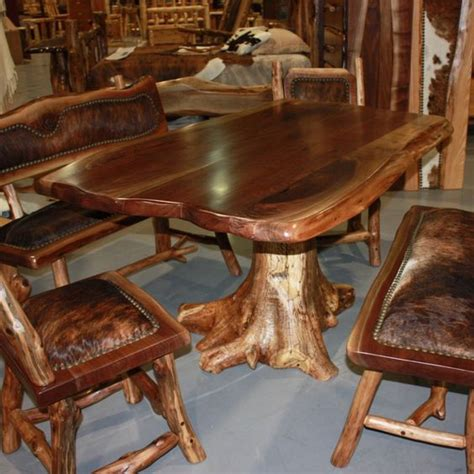 log dining room table log cabin builder dark log table set home decorating