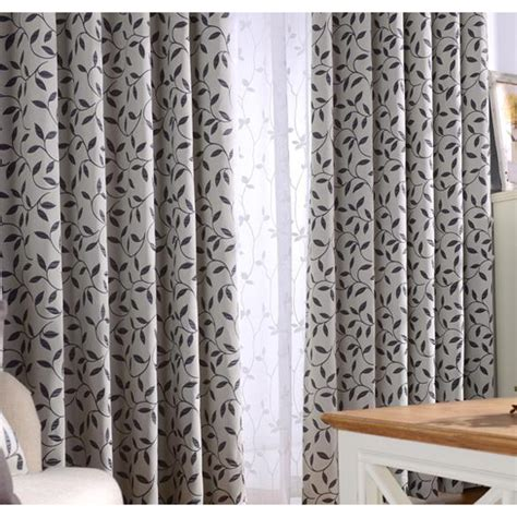 country bedroom curtains gray and black botanical jacquard polyester country