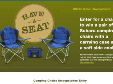 Subaru Sweepstakes - subaru cing chairs sweepstakes