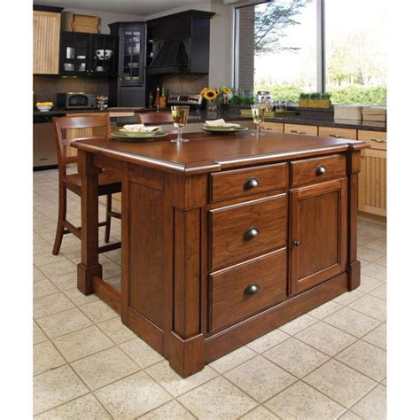 aspen kitchen island home styles aspen kitchen island two stools in rustic cherry with free shipping