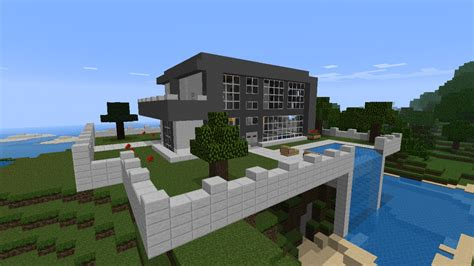 nice houses nice modern house with waterfall minecraft project