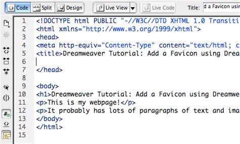 format html code in dreamweaver dreamweaver tutorial add a favicon using dreamweaver