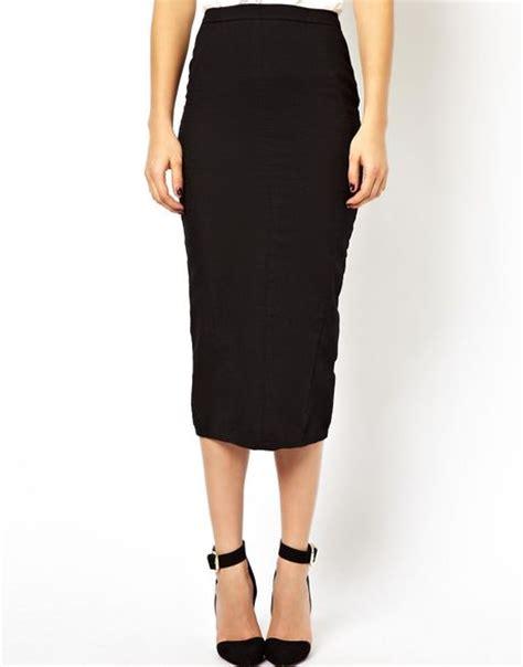 asos denim seamed midi pencil skirt in clean black in
