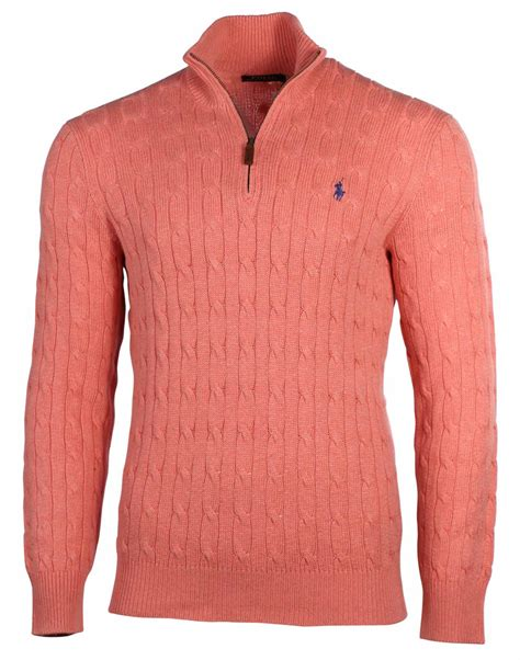 polo ralph s half zip cable knit mock sweater