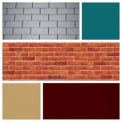 For red brick and grey roof burgundy door teal siding and tan