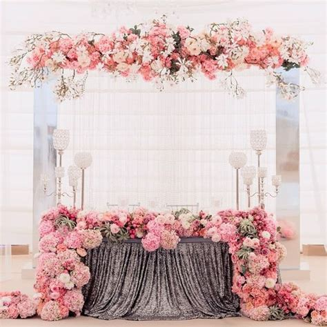 floral decoration romantic head table ideas for wedding weddceremony com