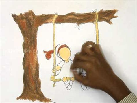 how to draw a swing how to draw the kids playing in swing youtube